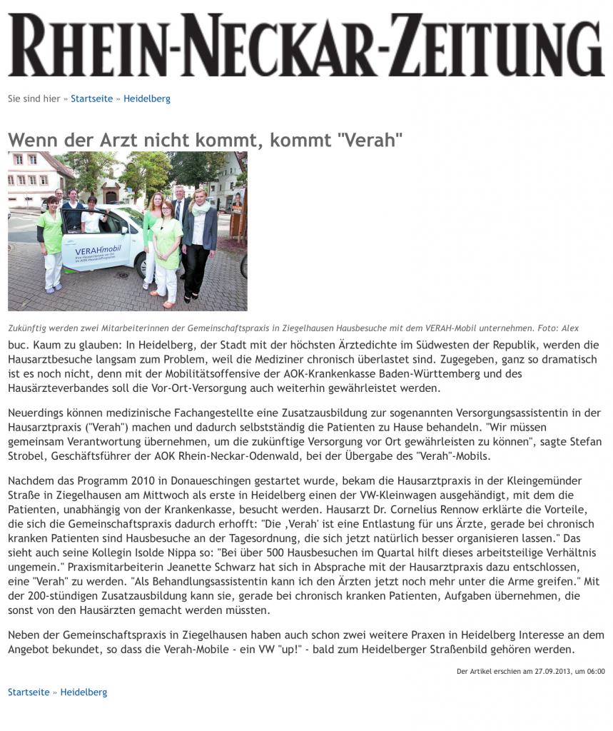 RNZ Hausarzt Ziegelhausen Verah